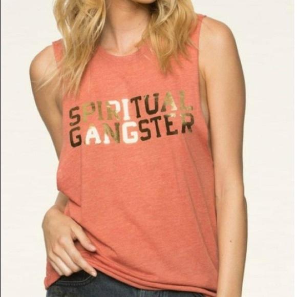 Spiritual Gangster Varsity Logo Orange Muscle Tank
